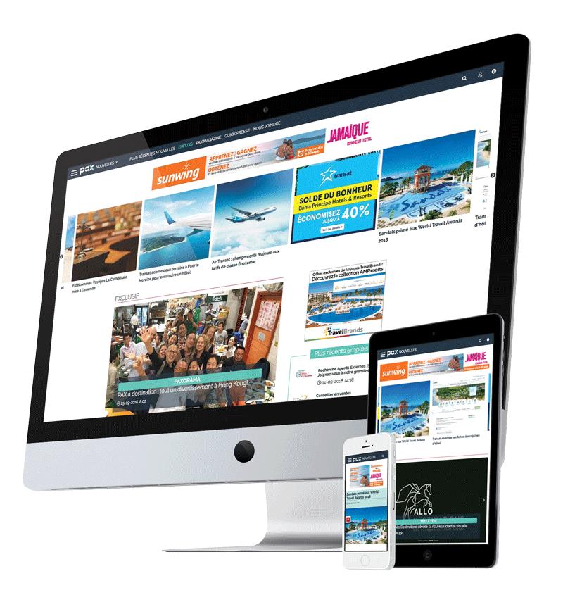 PAXnouvelles.com, Web site with responsive view.