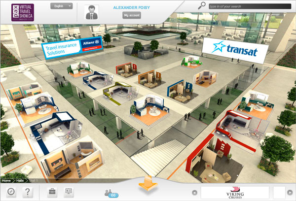 Inside an exhibition hall at the PAX Virtual Travel Show.