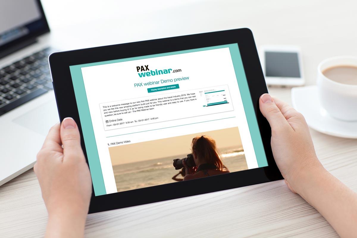 Web site interface of PAXwebinar.com